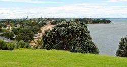 View of Cheltenham Beach in the Devonport suburb of Auckland, New Zealand