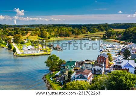View of Chesapeake City from the Chesapeake City Bridge, Maryland.
