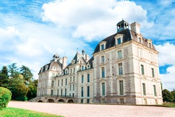 View of Cheverny castle Chateau de Chevernyin Loire Valley, France. Beautiful ancient palace.