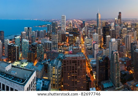View  of Chicago downtown at twilight from high above.