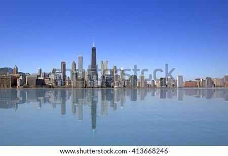 View of Chicago from Michigan lake #413668246