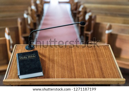 view of church pulpit with bible on it, overlooking the church Zdjęcia stock ©