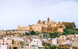 View of citadel with main city Victoria on the foreground from the north on Gozo island, Malta