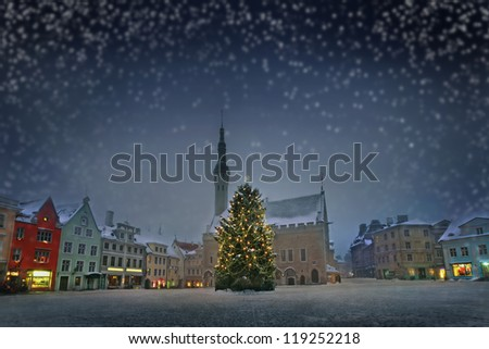 View of city hall square in Christmas on snowy background. Tallinn. Estonia