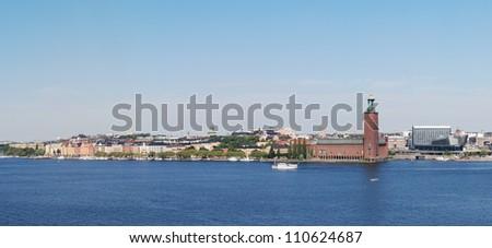 View of City Hall (Stadhuset) on Kungsholmen, Stockholm, Sweden - stock photo