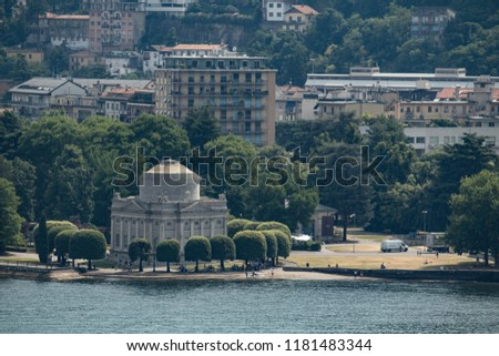 View of City of Como in Italy and its wonderful Curch called Duomo and lake.