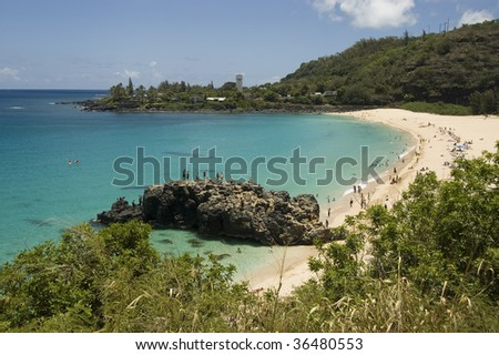 View of clear blue waters at Waimea Bay in Oahu, Hawaii. North Shore.