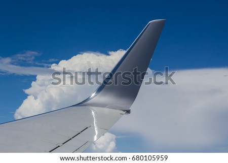 View of Clouds and Airplane Wing #680105959