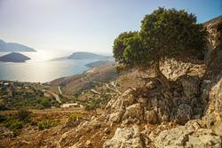 View of coast and sea on Kalymnos island, Greece