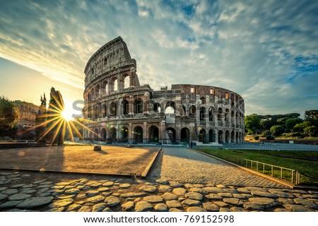View of Colloseum at sunrise, Italy. #769152598