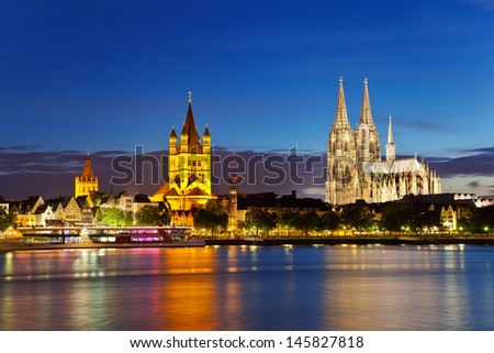 view of Cologne Cathedral and Great St. Martin Church, Germany