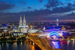 view of Cologne Cathedral in Cologne at night in germany