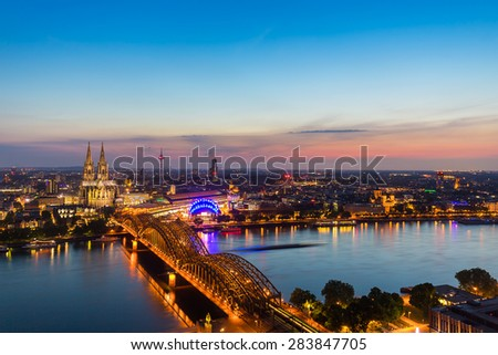 view of Cologne with Cologne Cathedral at sunset, germany #283847705