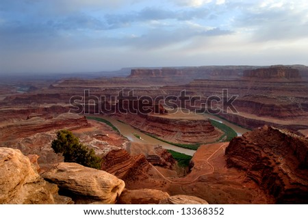 View of Colorado river running in Dead Horse point state park, Utah - stock photo