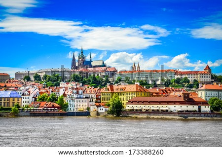 View of colorful old town and Prague castle with river Vltava, Czech Republic Stock photo ©