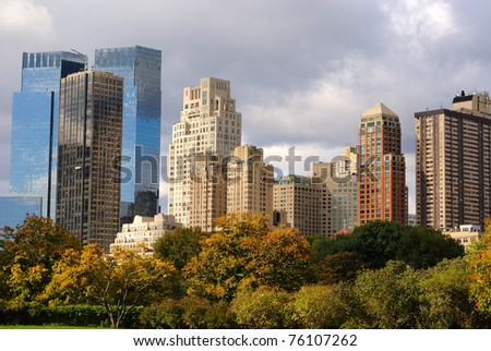 View of Columbus Circle office buildings in New York City, seen from Central Park.