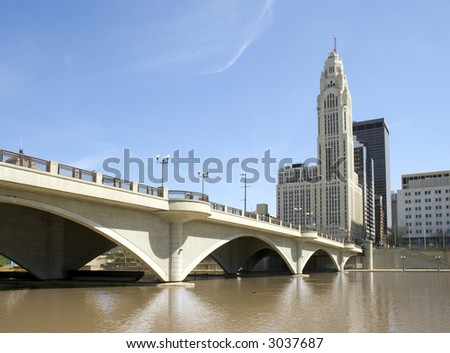 View of Columbus, Ohio and Broad Street Bridge crossing the Scioto River.