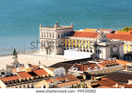 view of commerce place in Lisbon, Baixa district near the famous Tage river