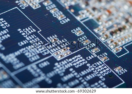 view of computer printed circuit as background. Shallow DOF