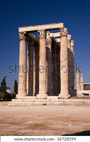 view of Corinthian columns of temple of Olympian Zeus in Athens