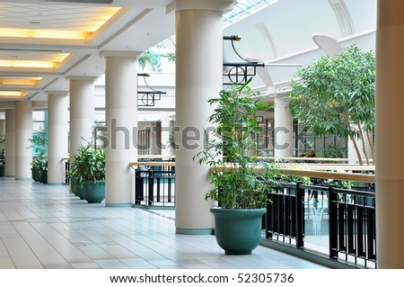 View of corner hallway with pillar in the mall