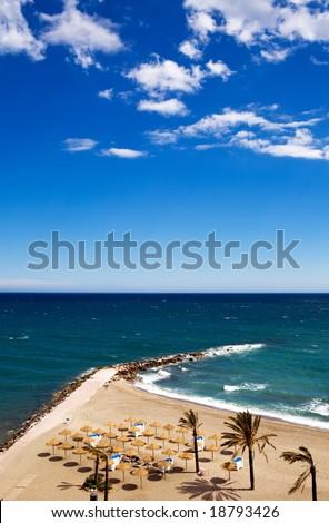 View of Costa Del Sol beach, Spain - stock photo
