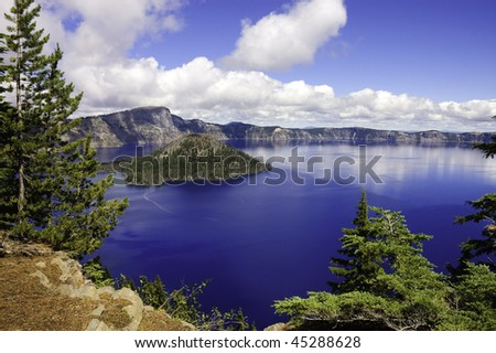 view of Crater lake in Oregon looking towards Wizard island
