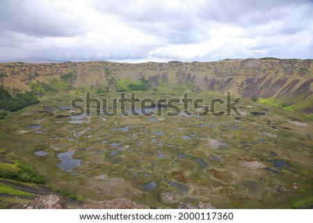 View of Crater lake of Rano Kau, Easter Island, Chile Zdjęcia stock ©