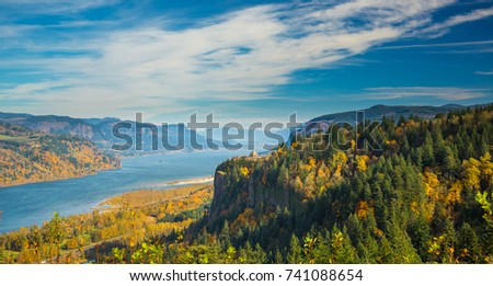 View of Crown Point and the Vista House and the Columbia River Gorge national Scenic Area in the fall season. #741088654
