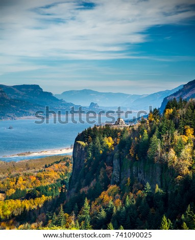 Shutterstock View of Crown Point and the Vista House and the Columbia River Gorge national Scenic Area in the fall season.