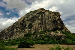 View of curious stone mountain The Quixadá Monoliths Natural Monument, a formation of inselbergs in the state of Ceará, Brazil, that has been designated a natural monument reserve