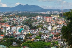View of Dalat from a cable car cabin, Vietnam