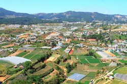 View of Dalat, Vietnam. Dalat is located in the South Central Highlands of Vietnam.
