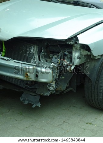 View of damages after car accident