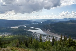 View of Dawson City Yukon from mountaintop