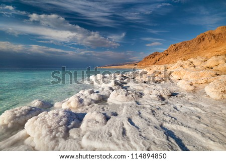 View of Dead Sea coastline at sunset time