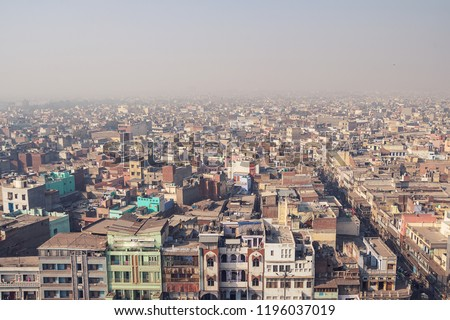 View of Delhi Buildings on a clear day. India's capital and a massive metropolitan city with 11 districts. It is one of the oldest city in the world.