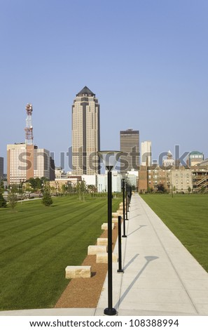 View of Des Moines skyline, capital of Iowa