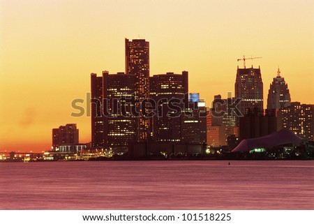 View of Detroit, Michigan skyline at sunset