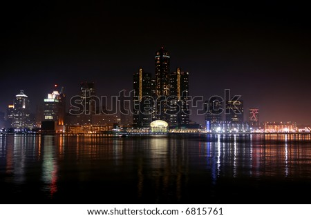 view of Detroit skyline at night, Michigan