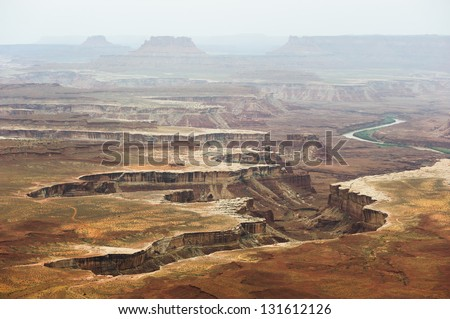 View of distant canyons from Island of the Sky in Canyonlands National Park, Utah, USA