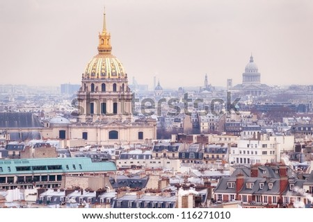 View of Dome des Invalides, burial site of Napoleon Bonaparte, Paris, France, on winter morning