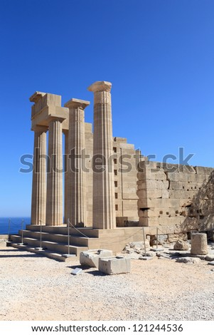 View of Doric Temple of Athena Lindia at Lindos Acropolis, Rhodes, Greece