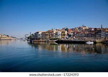view of Douro river embankment of Porto city, Portugal