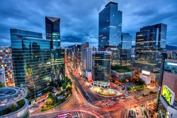 view of downtown at gangnam square seoul korea