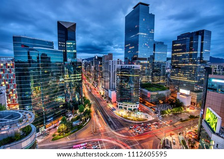 view of downtown at gangnam square seoul korea #1112605595