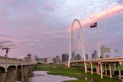 View of Downtown Dallas Skyline in Between the Margaret Hunt Hill Bridge and the Margaret McDermott Bridge