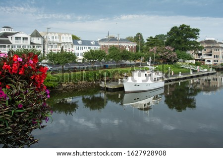 View of downtown Lewes Deleware from bridge with canal Zdjęcia stock ©