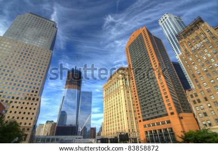 View of downtown Manhattan skyscrapers including the ongoing construction on the new World Trade Center Building in New York City.
