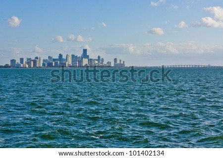 View of downtown Miami and Richenbacher Causeway, from Biscayne Bay